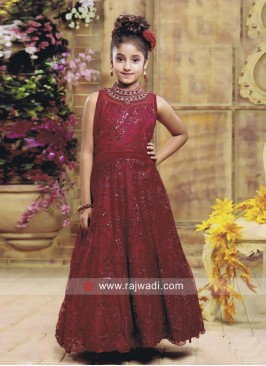 Girls Satin and Net Anarkali Gown