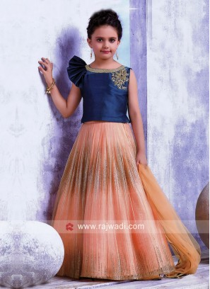 Girls Satin Net Choli Suit