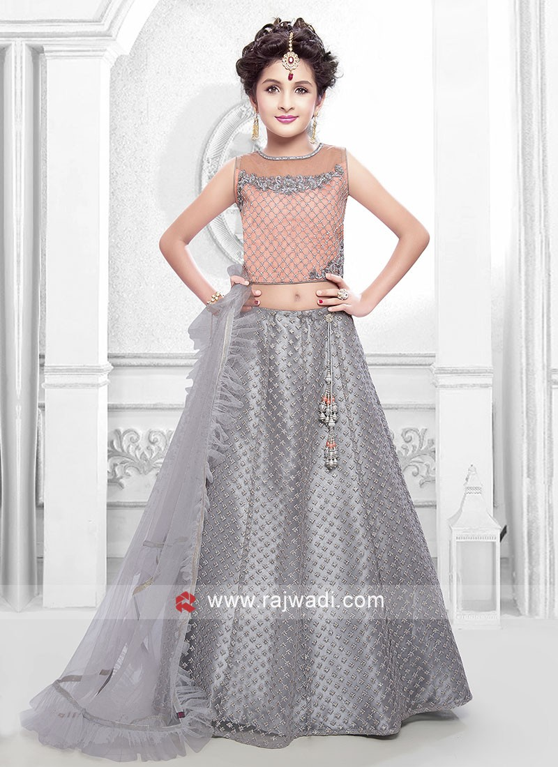 Girls Satin Net Designer Choli Suit