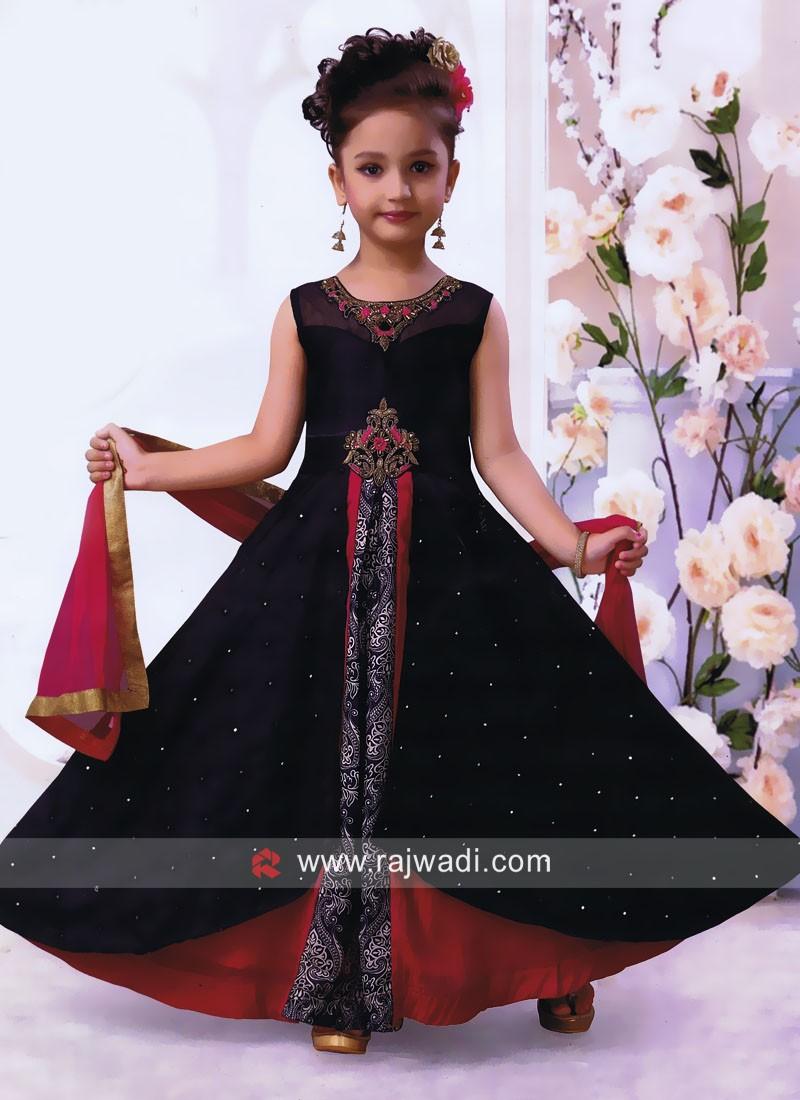 Girls Satin Silk Floor Length Anarkali Suit