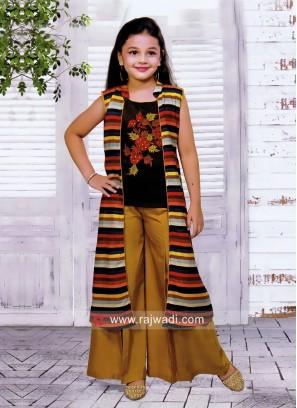 Girls Satin Silk Palazzo Suit