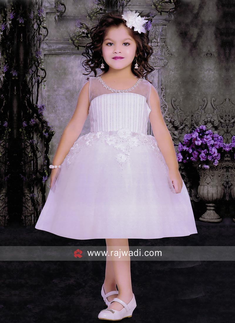 Girls Short Ball Gown in White