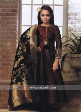 Girls Silk Anarkali Salwar Kameez