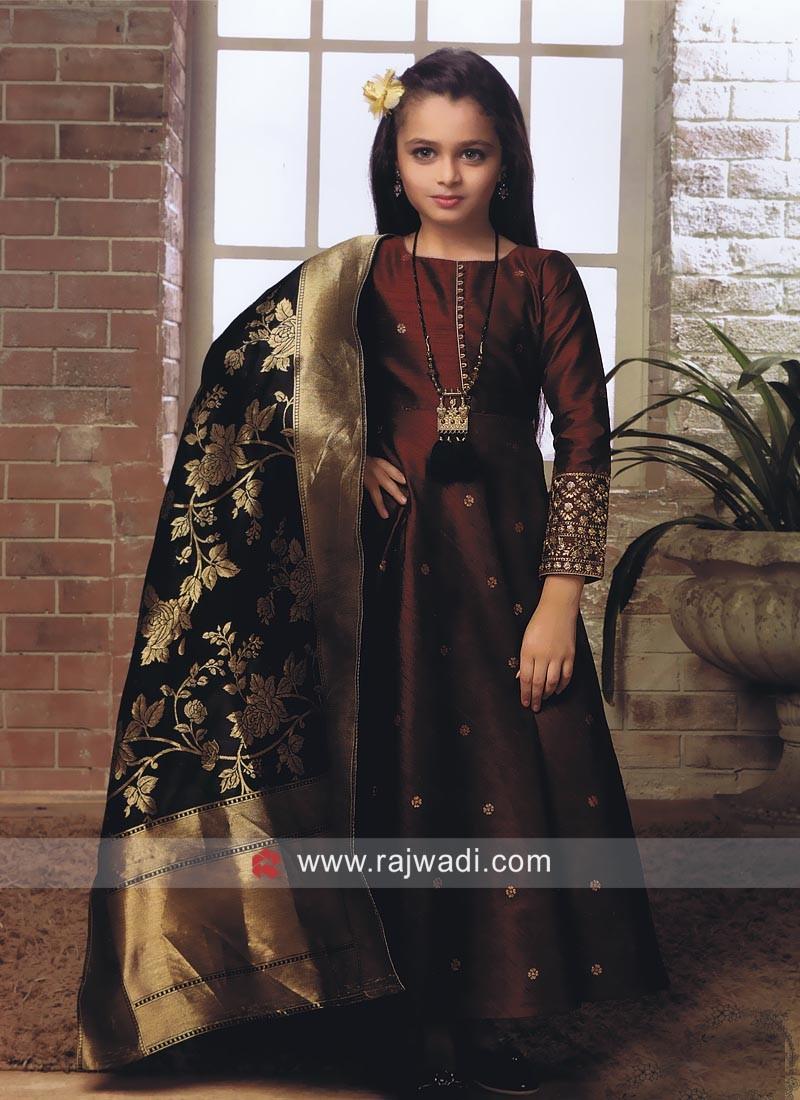 Girls Silk Anarkali Salwar Kameez