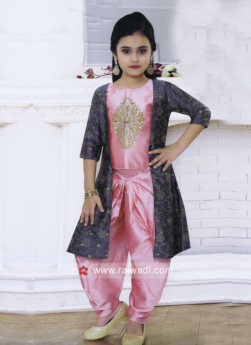 Girls Silk Dhoti Suit with Jacket