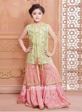 Girls Silk Embroidered Palazzo Suit with Long Koti
