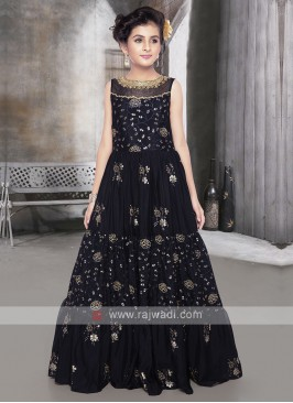 Girls Silk Gown In Navy Blue