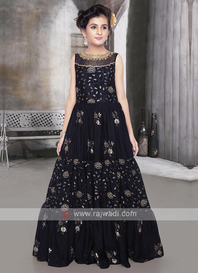 Girls Silk Gown In Navy Blue