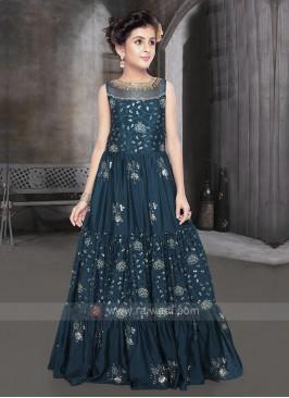 Girls Silk Gown In Rama Blue