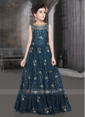 Girls Silk Gown In Rama Blue