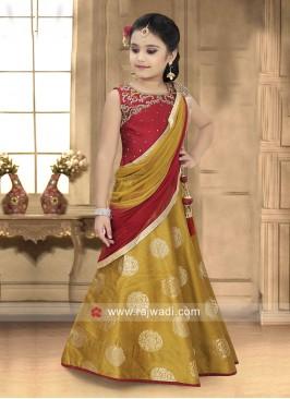 Girls Silk Lehenga Choli with Attached Dupatta