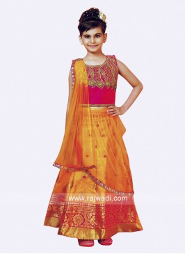 Girls Silk Lehenga Choli with Attached Dupatta
