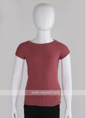 Girls Solid Round Neck T-shirt