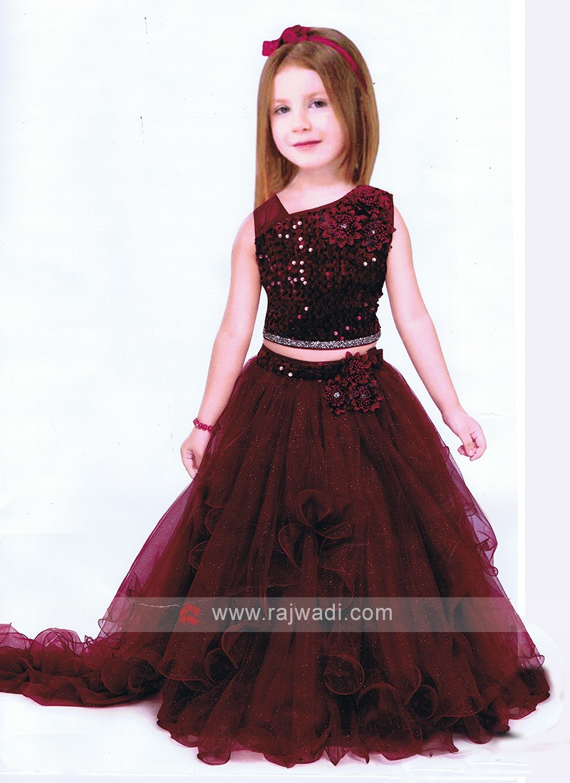 Girls Stylish Maroon Choli Suit