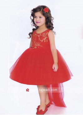 Girls Stylish Red Short Frock