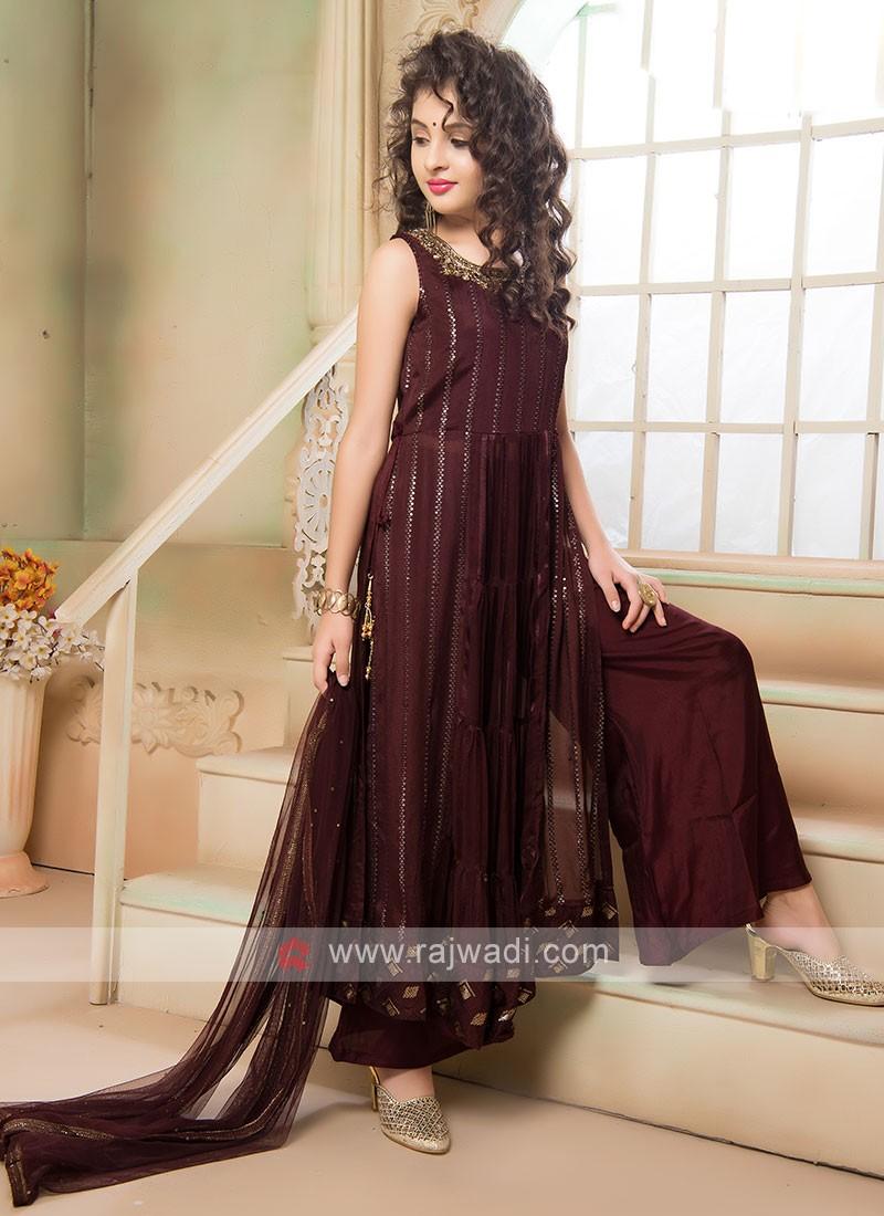 Girls Stylish Wine Palazzo Suit