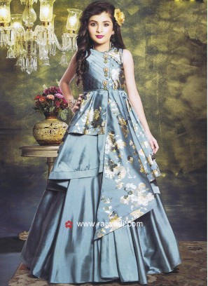 Girls Wedding Printed Gown
