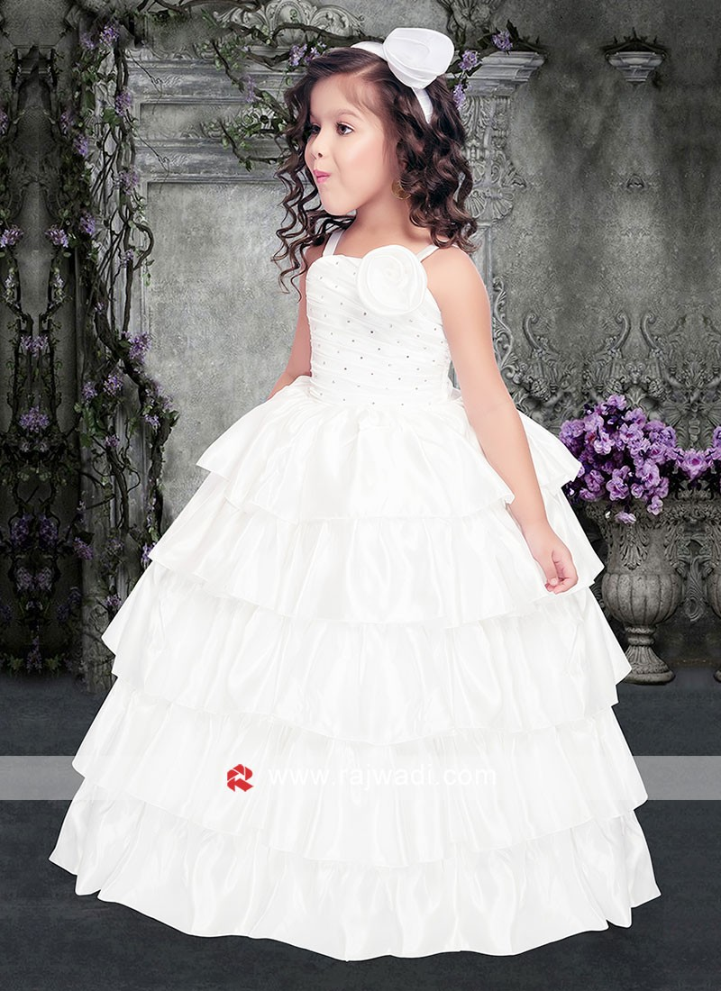 Girls White Ball Gown for Party