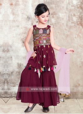 Girls Wine Color Gharara Suit
