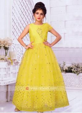 Girls Yellow Satin Net Gown