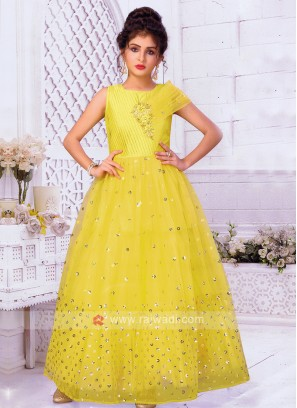 Girls Yellow Satin Net Gown