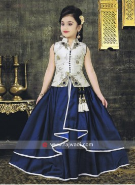 Girls Zari Work Raw Silk Choli Suit