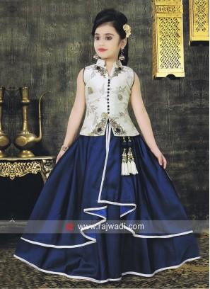 Girls Zari Work Raw Silk Choli Suit