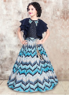 Girls Zig Zag Printed Choli Suit In Blue Color