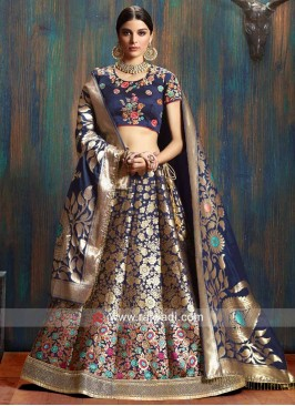 Giselli Monteiro Navy Blue Floral Embroidered Lehenga Set