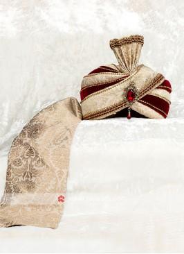 Glamerous Brocade Silk And Velvet Wedding Turban