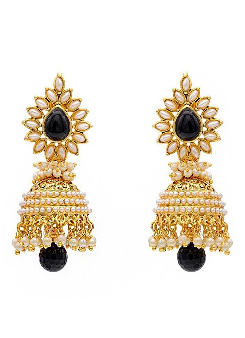 Glamour Pearl Brass Jhumki Earrings