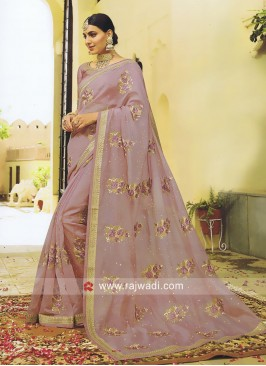 Glass Tissue Peach Saree