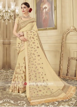 Glass Tissue Saree in Golden Cream
