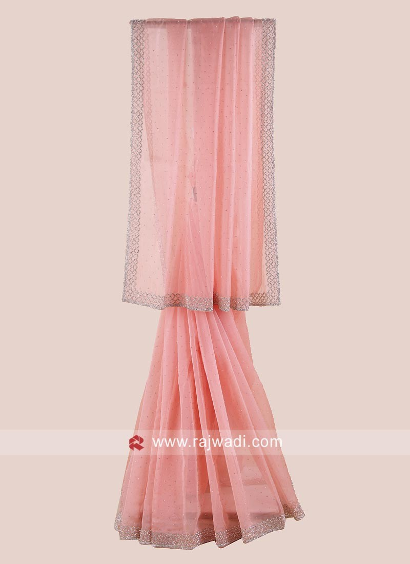 Glass Tissue Saree in Peach