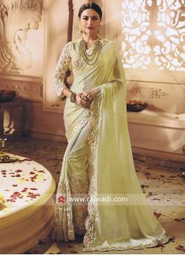 Glass Tissue Sari with Cut Work Border