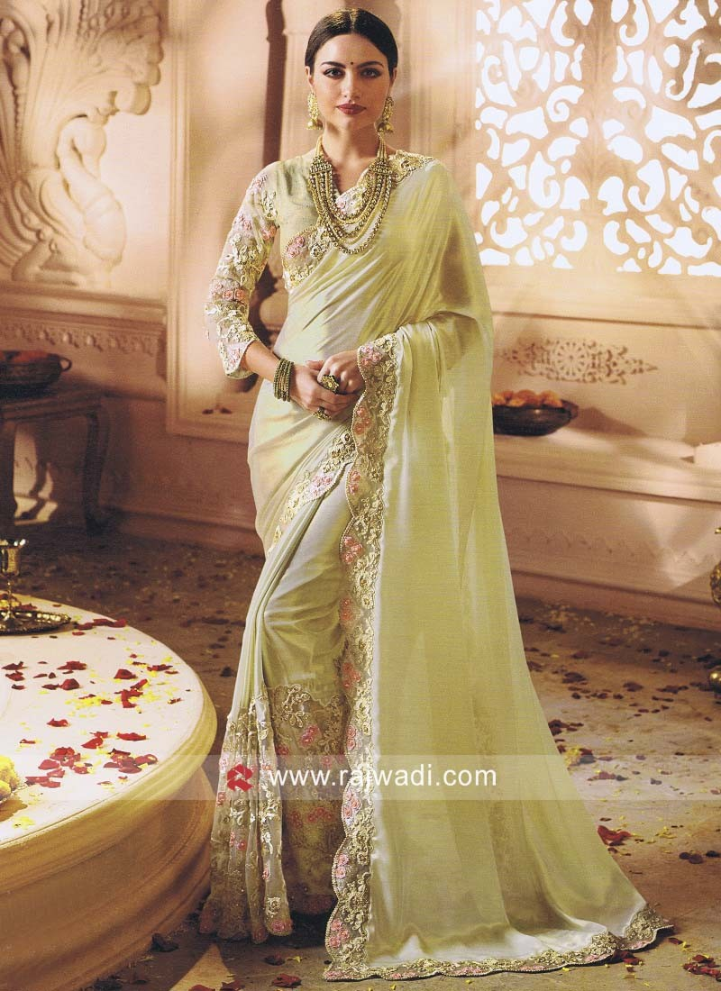 Glass Tissue Sari with Cut Work Border