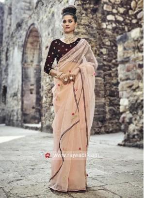 Glass Tissue Stone Work Sari