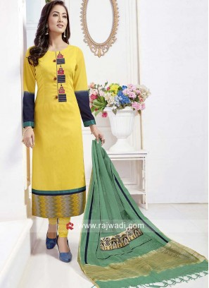 Yellow Cotton Silk Straight Fit Churidar Suit
