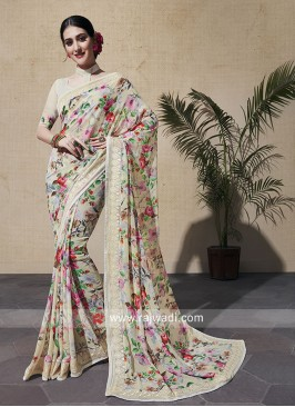 Glorious Flower Print Georgette Printed Saree