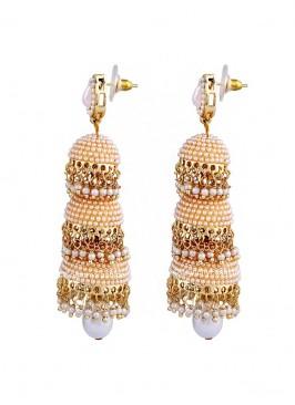 Glorious Pearl Three Layered Traditional Jhumki Earrings