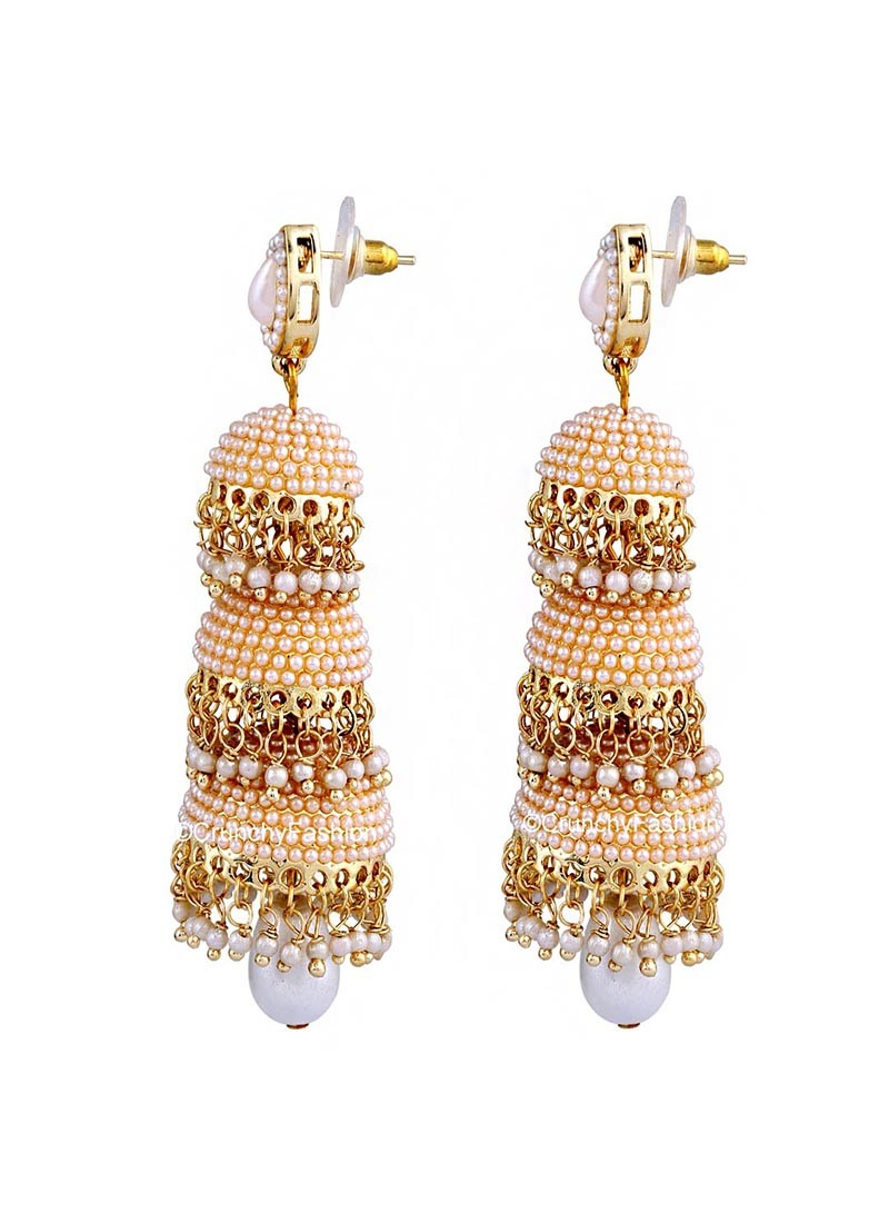 Glorious Pearl Three Layered Traditional Jhumki Earrings