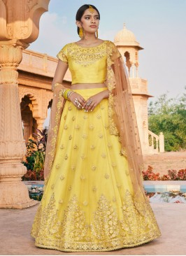 Glorious Thread Yellow Net Bollywood Lehenga Choli