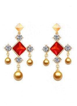 Glowing Crystal Rosy Drop Earrings
