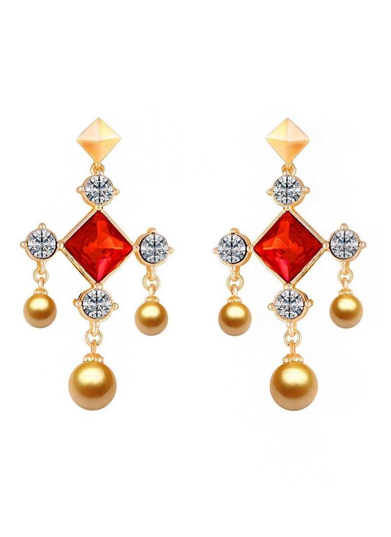 Glowing Crystal Rosy Drop Earrings