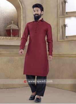 Glowing Maroon Pathani Suit