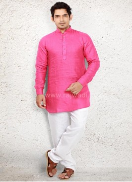 Glowing Pink Pathani Suit