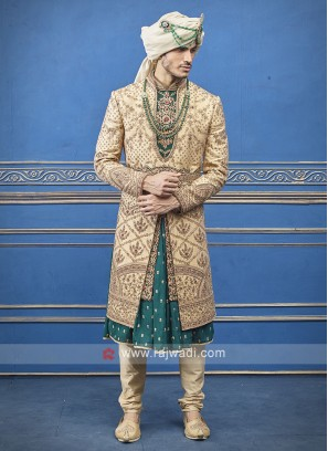 Goden and Green Silk  Sherwani For Groom