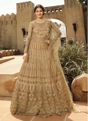 Gold Color Anarkali Salwar Suit