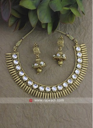 Gold Plated Beads Choker Set with Earrings