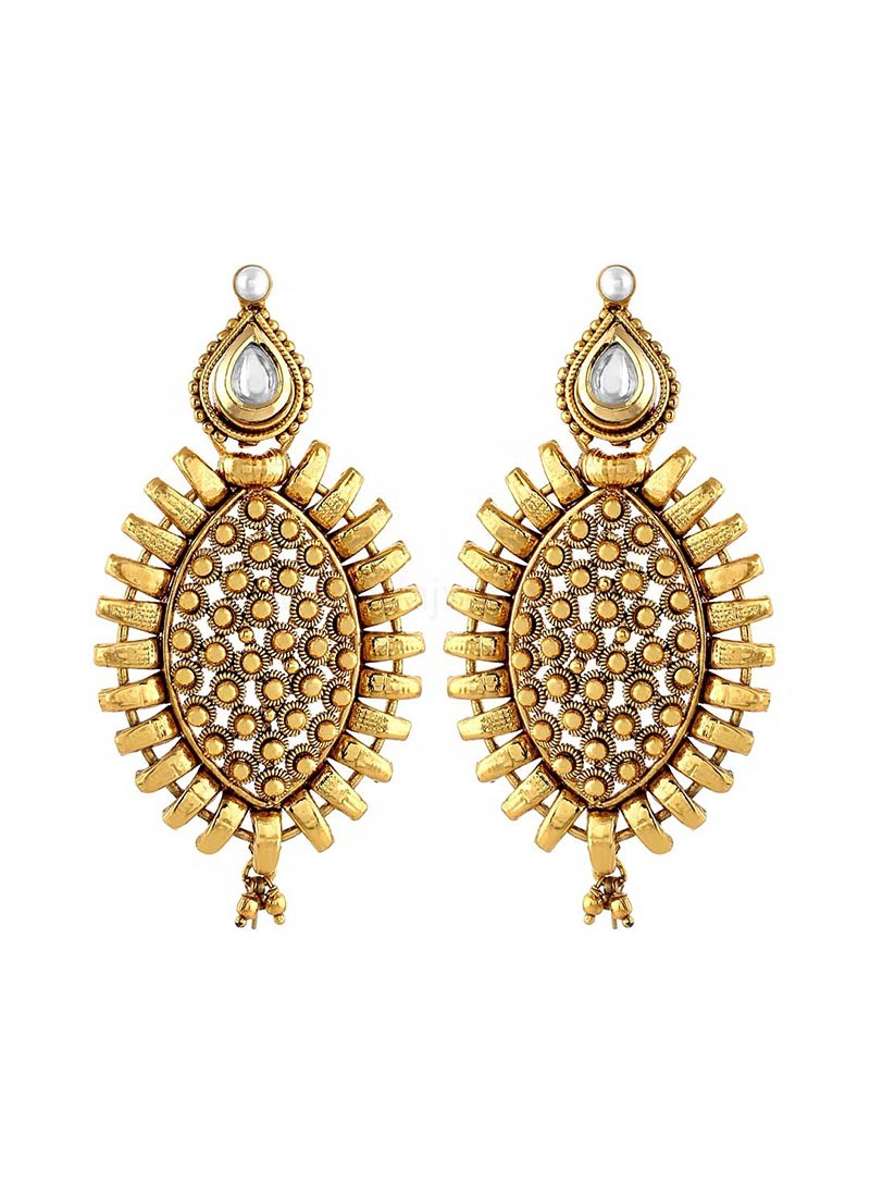 Gold Plated Beads Drop Earrings